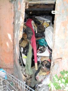 Garage full of stinking rubbish