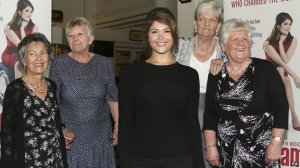 Gemma Alderton as Rita O'Grady with some of the Ford workers at the launch of the show. Pic courtesy BBC